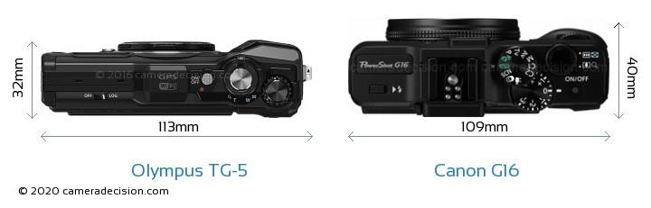 Olympus TG-5 vs Canon G16 Camera Size Comparison - Top View