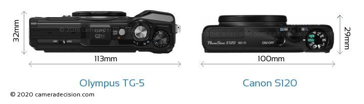 Olympus TG-5 vs Canon S120 Camera Size Comparison - Top View