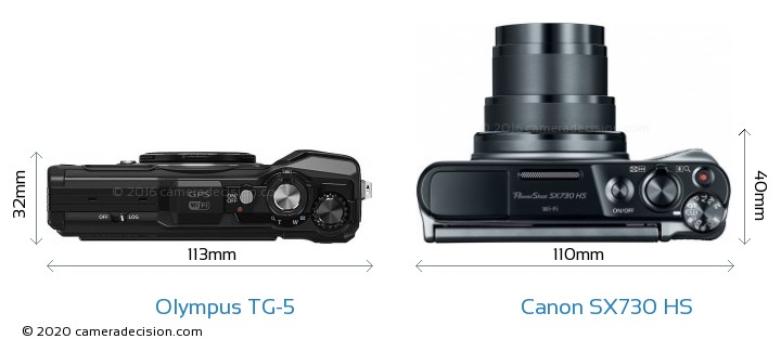 Olympus TG-5 vs Canon SX730 HS Camera Size Comparison - Top View
