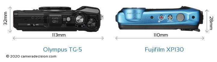 Olympus TG-5 vs Fujifilm XP130 Camera Size Comparison - Top View