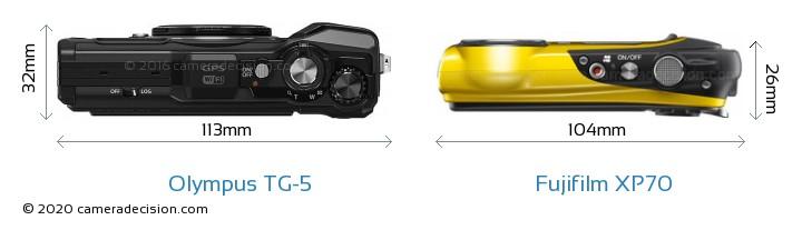 Olympus TG-5 vs Fujifilm XP70 Camera Size Comparison - Top View