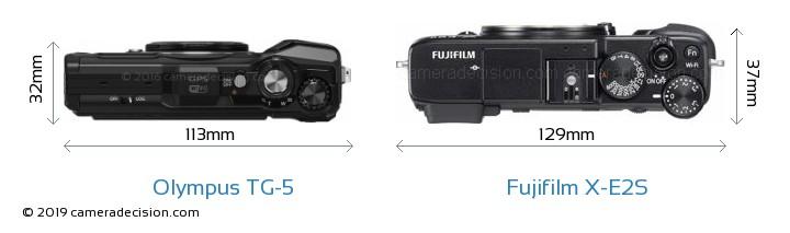 Olympus TG-5 vs Fujifilm X-E2S Camera Size Comparison - Top View