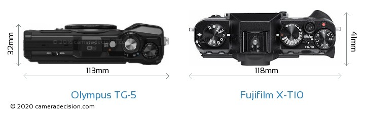 Olympus TG-5 vs Fujifilm X-T10 Camera Size Comparison - Top View