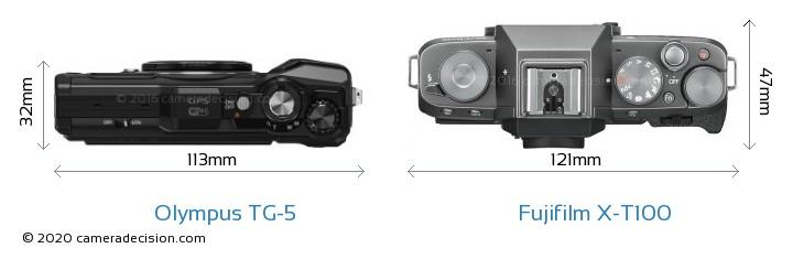 Olympus TG-5 vs Fujifilm X-T100 Camera Size Comparison - Top View