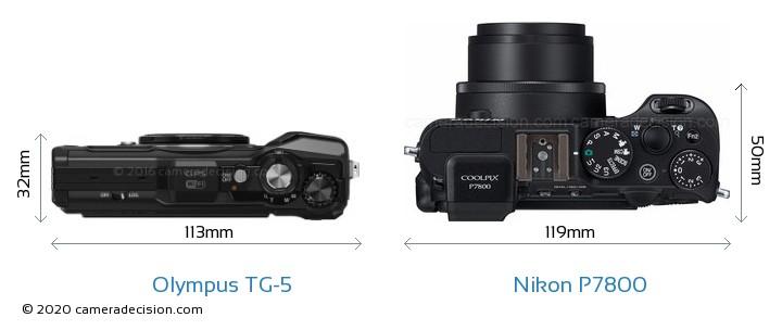 Olympus TG-5 vs Nikon P7800 Camera Size Comparison - Top View