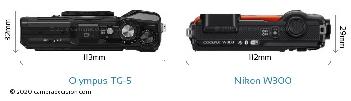 Olympus TG-5 vs Nikon W300 Camera Size Comparison - Top View