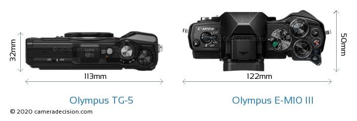 Olympus TG-5 vs Olympus E-M10 MIII Camera Size Comparison - Top View