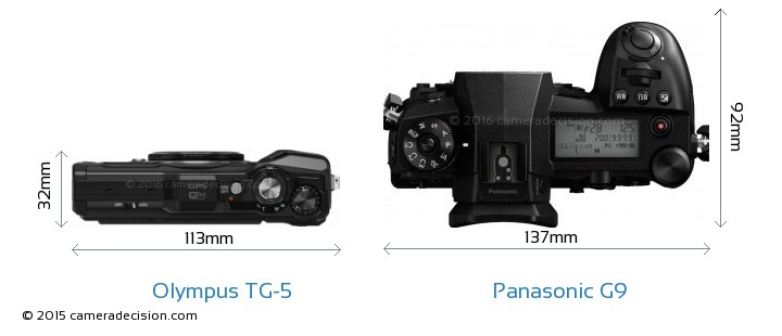 Olympus TG-5 vs Panasonic G9 Camera Size Comparison - Top View