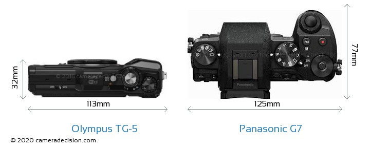 Olympus TG-5 vs Panasonic G7 Camera Size Comparison - Top View