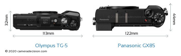Olympus TG-5 vs Panasonic GX85 Camera Size Comparison - Top View