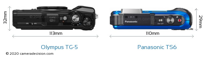 Olympus TG-5 vs Panasonic TS6 Camera Size Comparison - Top View