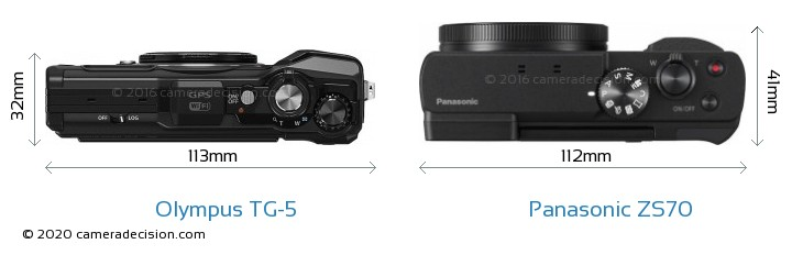 Olympus TG-5 vs Panasonic ZS70 Camera Size Comparison - Top View