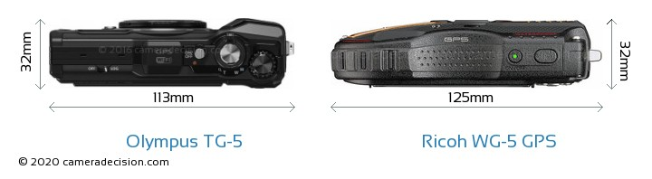 Olympus TG-5 vs Ricoh WG-5 GPS Camera Size Comparison - Top View