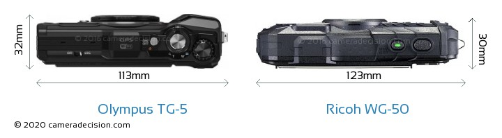 Olympus TG-5 vs Ricoh WG-50 Camera Size Comparison - Top View
