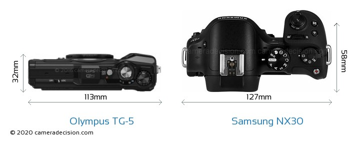 Olympus TG-5 vs Samsung NX30 Camera Size Comparison - Top View