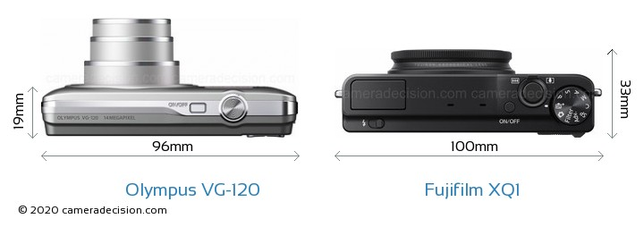 Olympus VG-120 vs Fujifilm XQ1 Camera Size Comparison - Top View