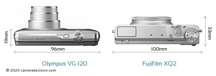 Olympus VG-120 vs Fujifilm XQ2 Camera Size Comparison - Top View