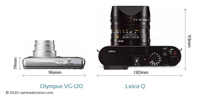Olympus VG-120 vs Leica Q Camera Size Comparison - Top View