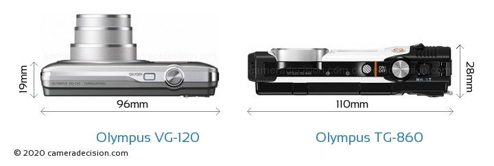 Olympus VG-120 vs Olympus TG-860 Camera Size Comparison - Top View