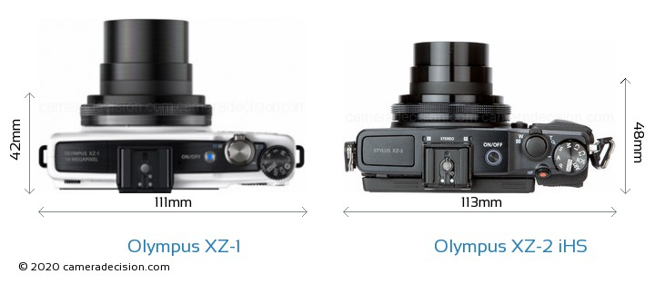 Olympus XZ-1 vs Olympus XZ-2 iHS Camera Size Comparison - Top View