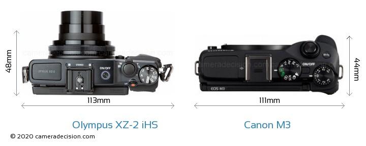 Olympus XZ-2 iHS vs Canon M3 Camera Size Comparison - Top View