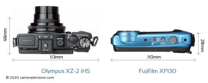 Olympus XZ-2 iHS vs Fujifilm XP130 Camera Size Comparison - Top View