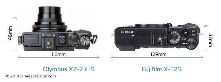 Olympus XZ-2 iHS vs Fujifilm X-E2S Camera Size Comparison - Top View