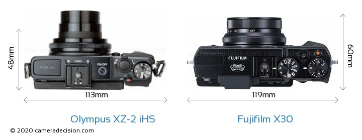 Olympus XZ-2 iHS vs Fujifilm X30 Camera Size Comparison - Top View