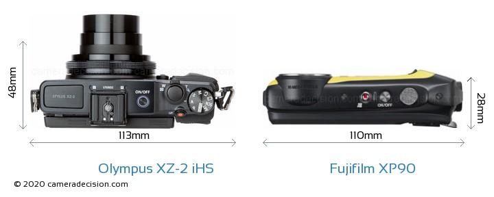 Olympus XZ-2 iHS vs Fujifilm XP90 Camera Size Comparison - Top View