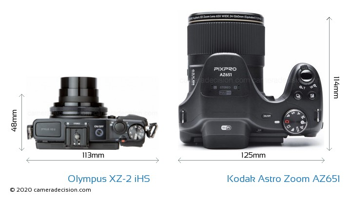 Olympus XZ-2 iHS vs Kodak Astro Zoom AZ651 Camera Size Comparison - Top View