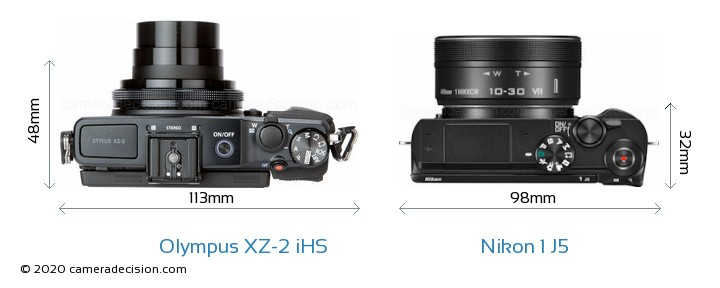 Olympus XZ-2 iHS vs Nikon 1 J5 Camera Size Comparison - Top View