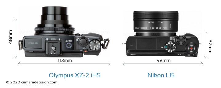 Olympus XZ-2 iHS vs Nikon 1 J5 Camera Size Comparison - Top View