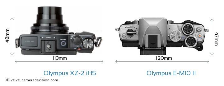 Olympus XZ-2 iHS vs Olympus E-M10 II Camera Size Comparison - Top View