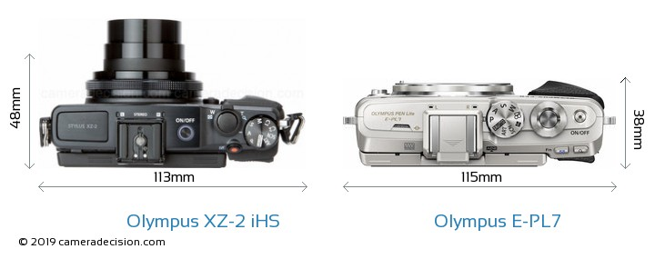 Olympus XZ-2 iHS vs Olympus E-PL7 Camera Size Comparison - Top View
