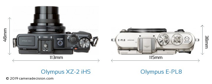 Olympus XZ-2 iHS vs Olympus E-PL8 Camera Size Comparison - Top View