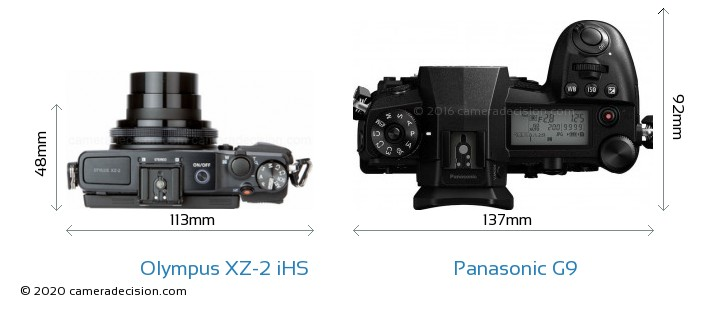 Olympus XZ-2 iHS vs Panasonic G9 Camera Size Comparison - Top View