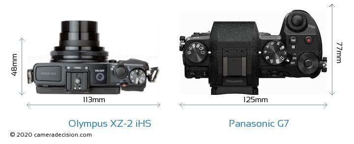 Olympus XZ-2 iHS vs Panasonic G7 Camera Size Comparison - Top View