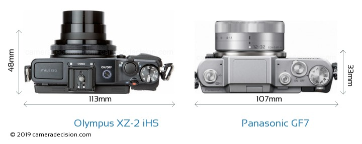 Olympus XZ-2 iHS vs Panasonic GF7 Camera Size Comparison - Top View