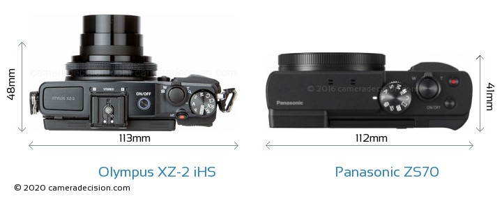 Olympus XZ-2 iHS vs Panasonic ZS70 Camera Size Comparison - Top View