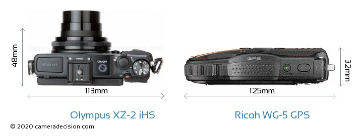 Olympus XZ-2 iHS vs Ricoh WG-5 GPS Camera Size Comparison - Top View
