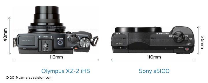 Olympus XZ-2 iHS vs Sony a5100 Camera Size Comparison - Top View
