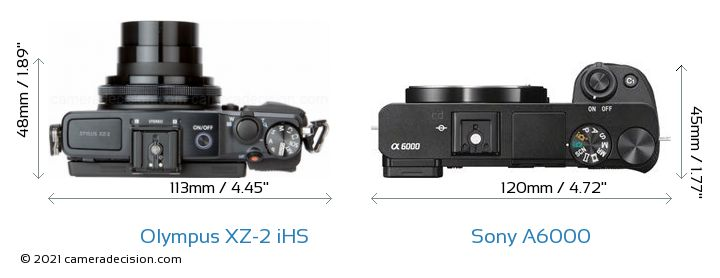 Olympus XZ-2 iHS vs Sony A6000 Camera Size Comparison - Top View