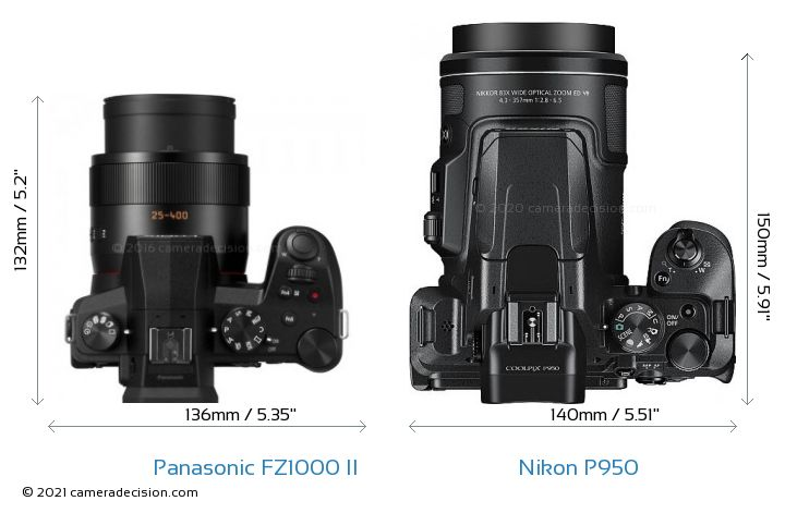 Panasonic FZ1000 II vs Nikon P950 Camera Size Comparison - Top View