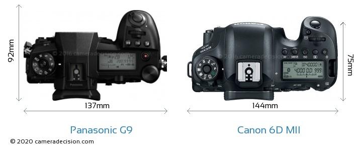 Panasonic G9 vs Canon 6D MII Camera Size Comparison - Top View