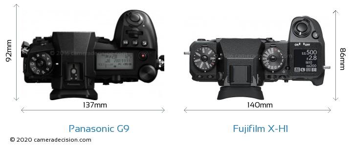 Panasonic G9 vs Fujifilm X-H1 Camera Size Comparison - Top View