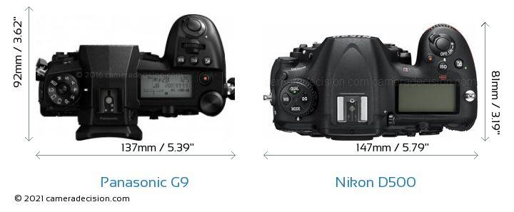 Panasonic G9 vs Nikon D500 Camera Size Comparison - Top View