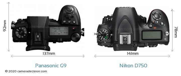 Panasonic G9 vs Nikon D750 Camera Size Comparison - Top View