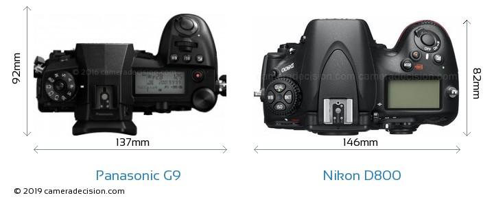 Panasonic G9 vs Nikon D800 Camera Size Comparison - Top View