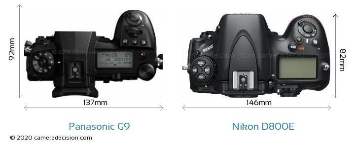 Panasonic G9 vs Nikon D800E Camera Size Comparison - Top View