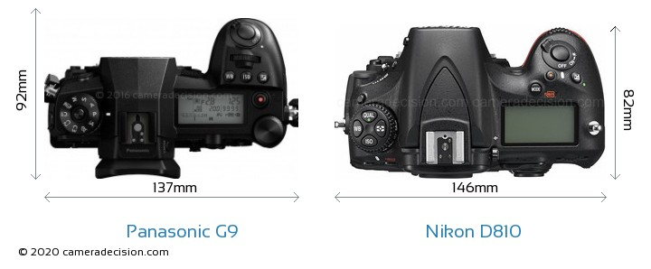 Panasonic G9 vs Nikon D810 Camera Size Comparison - Top View
